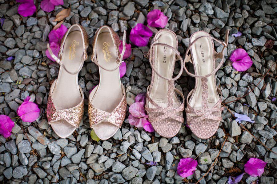 same sex wedding details, bride's shoes